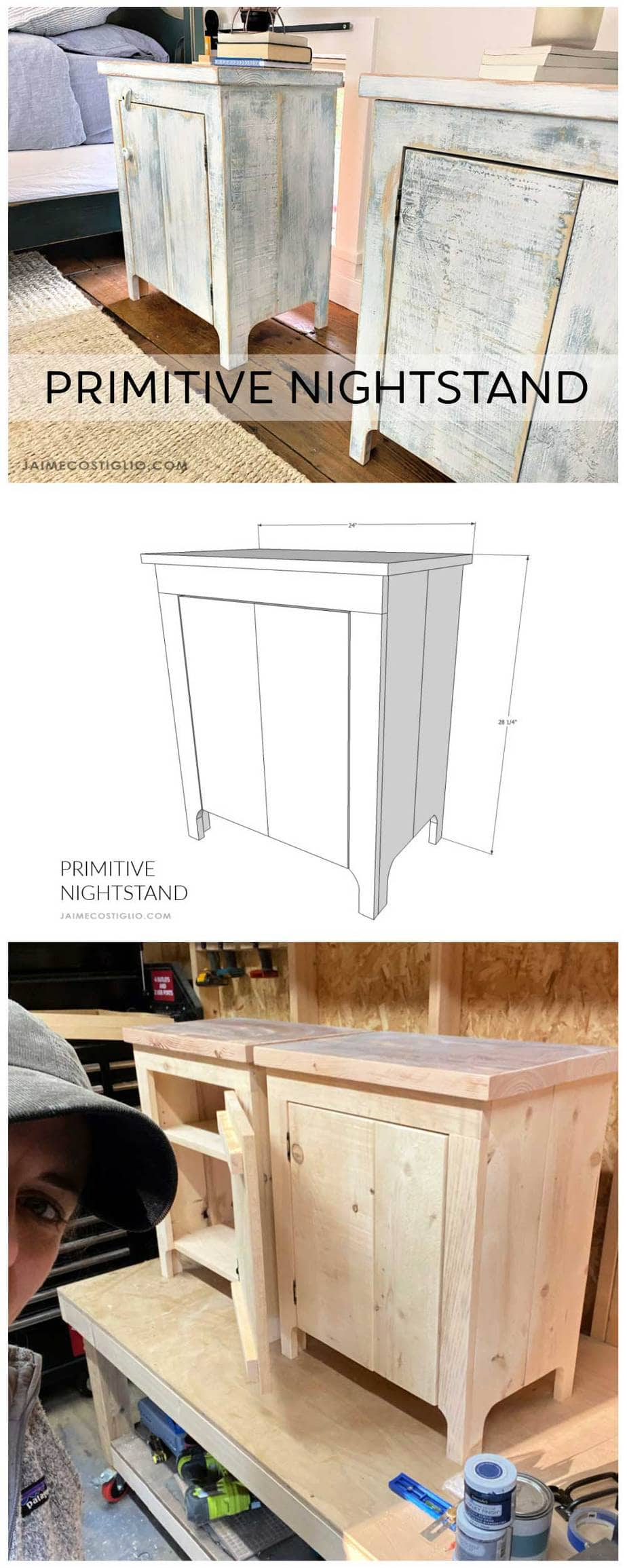primitive nightstand plans