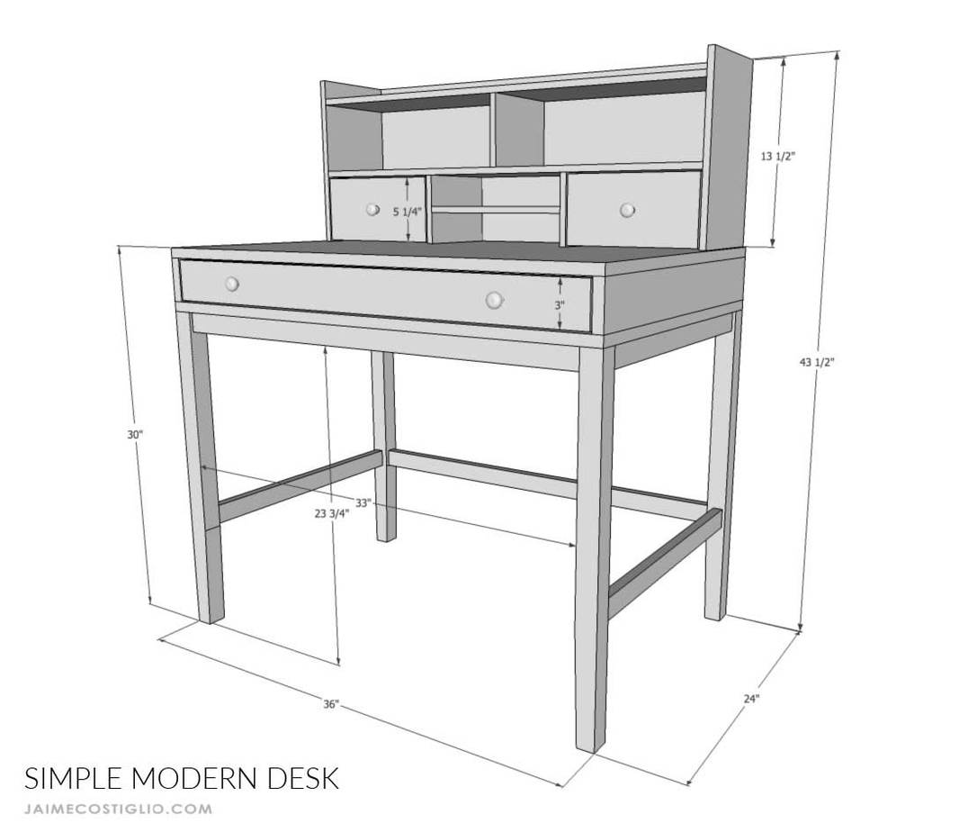 simple modern desk dimensions