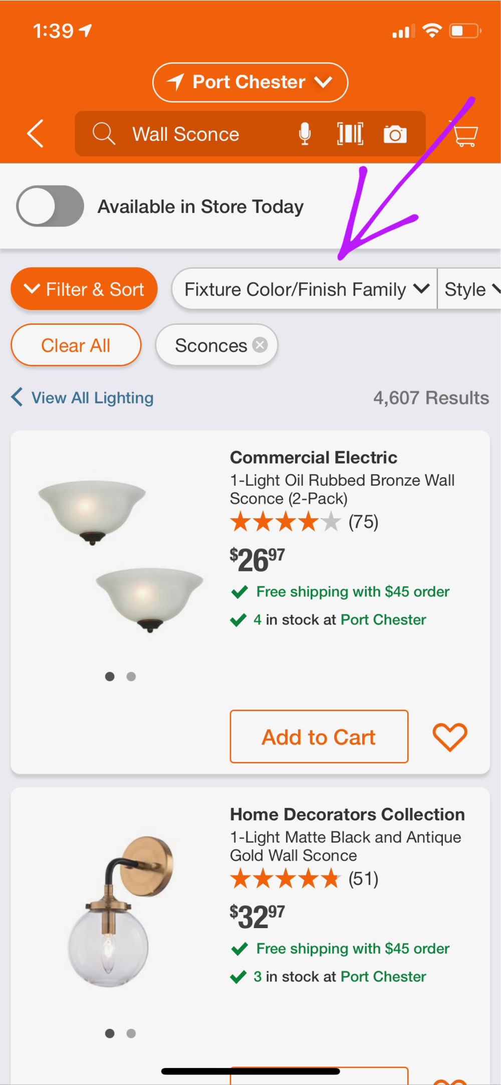 Home Depot mobile app search results