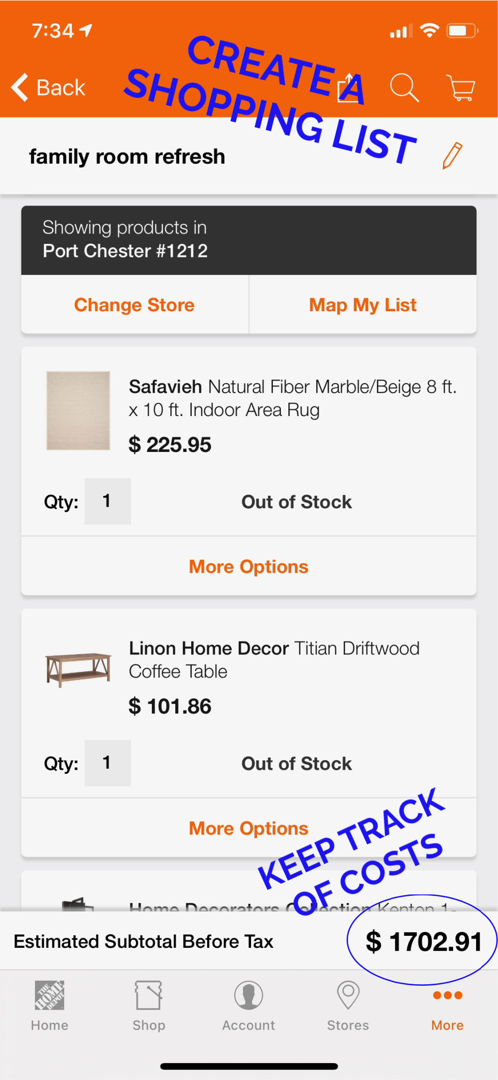 Home Depot mobile app shopping list