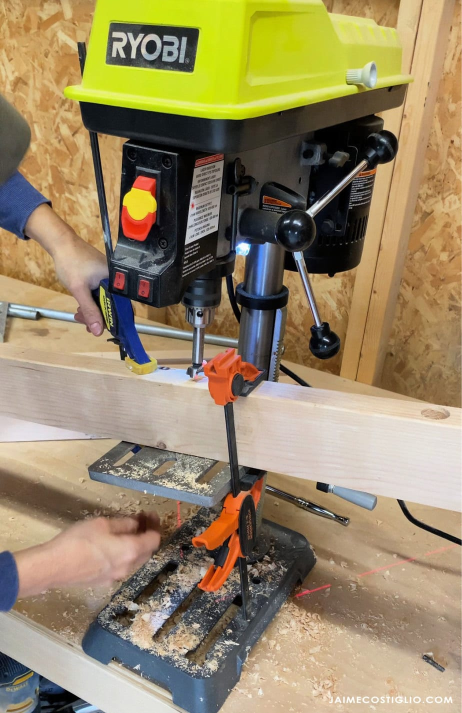 drill press 10 degree bevel into studs