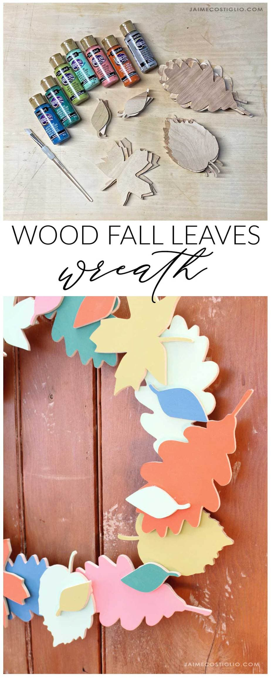 painted fall leaves wreath