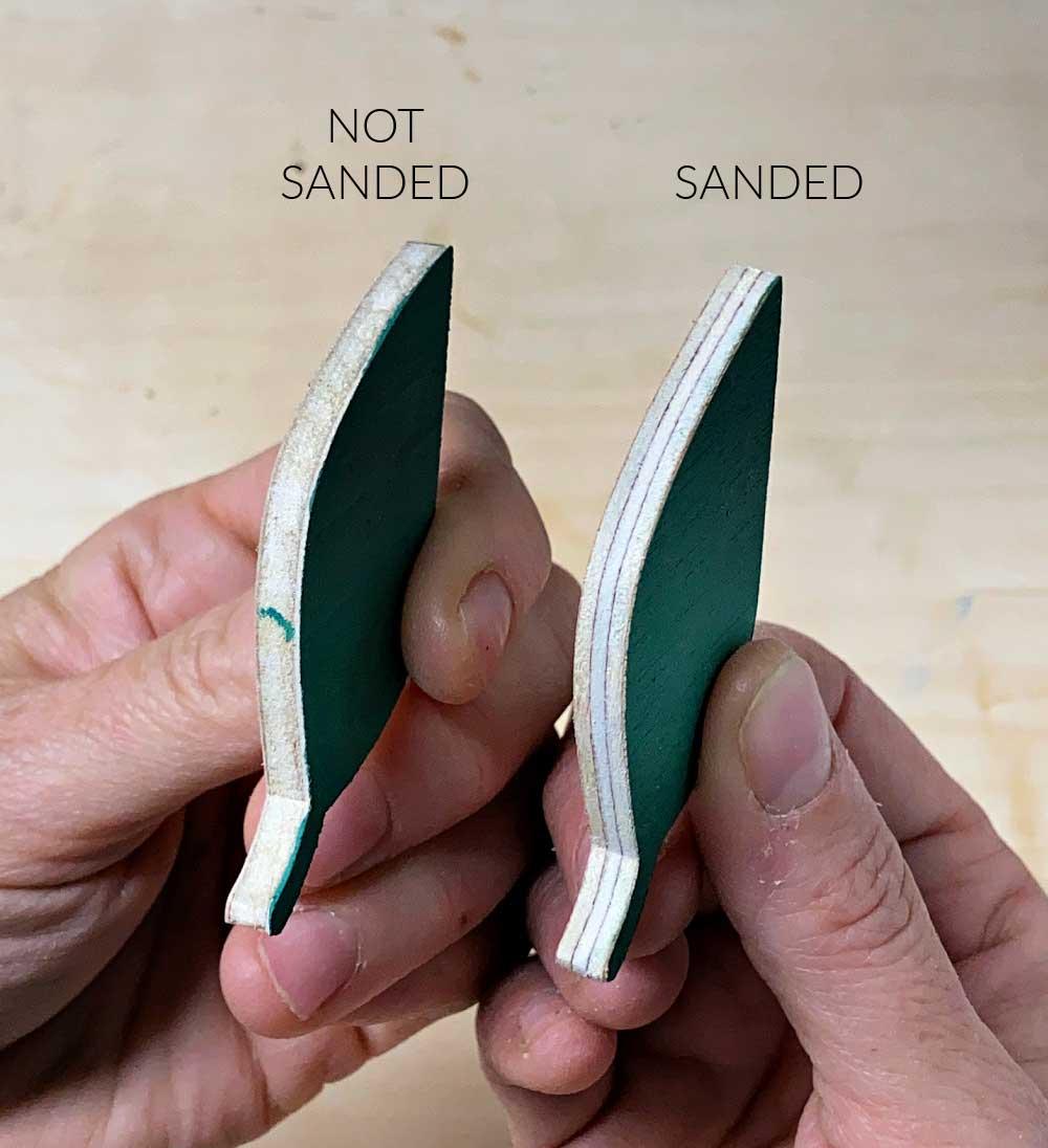 sanded versus not sanded