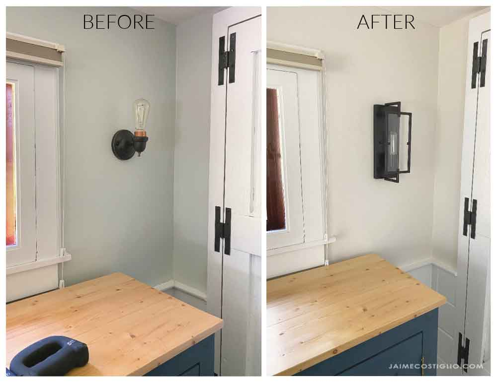 wall sconces before and after