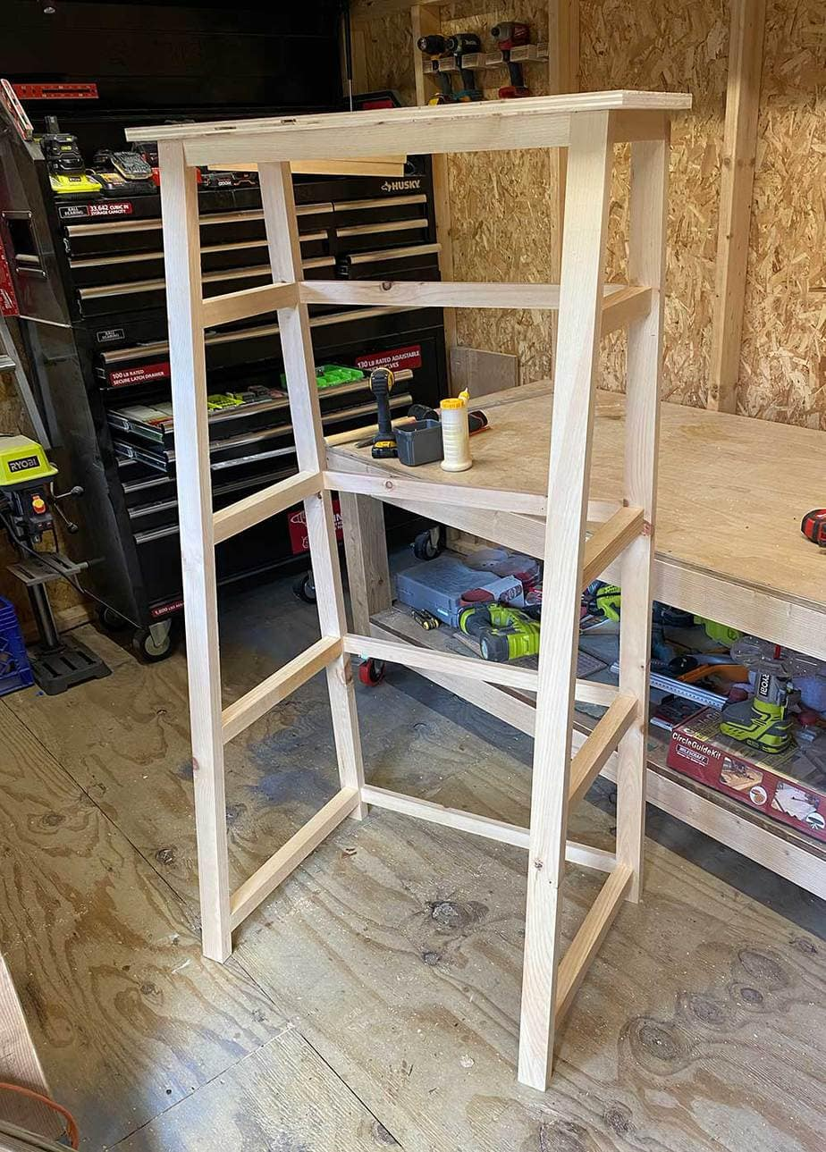 tiered shelves framing
