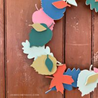 wood fall leaves wreath