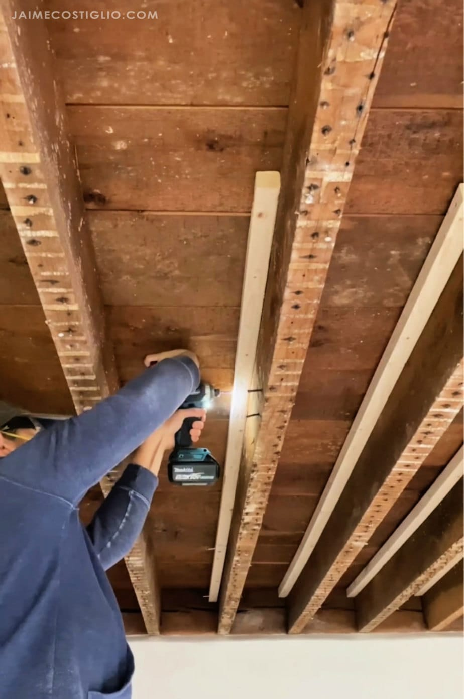 attaching cleats to exposed beams
