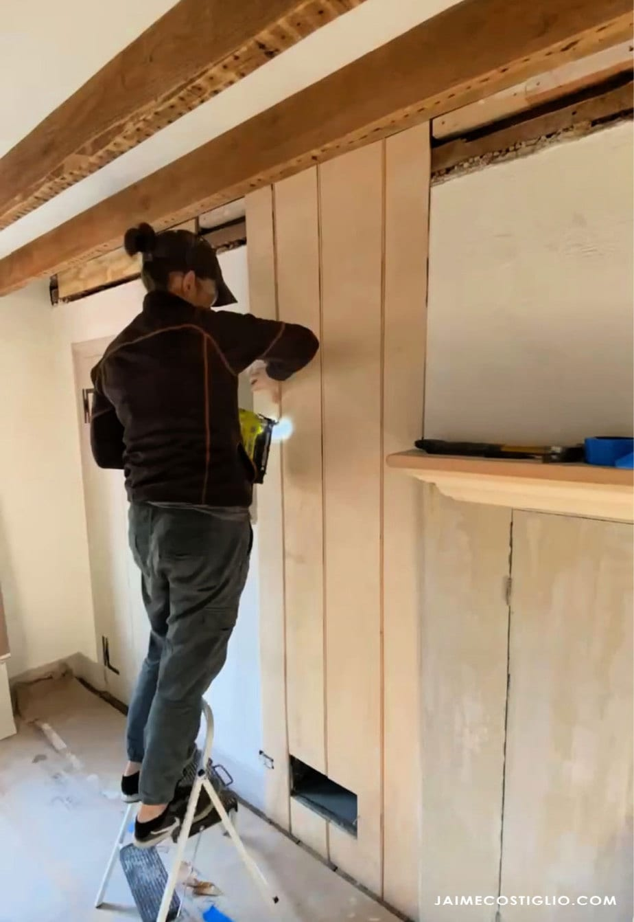 attaching panels to wall with brad nails