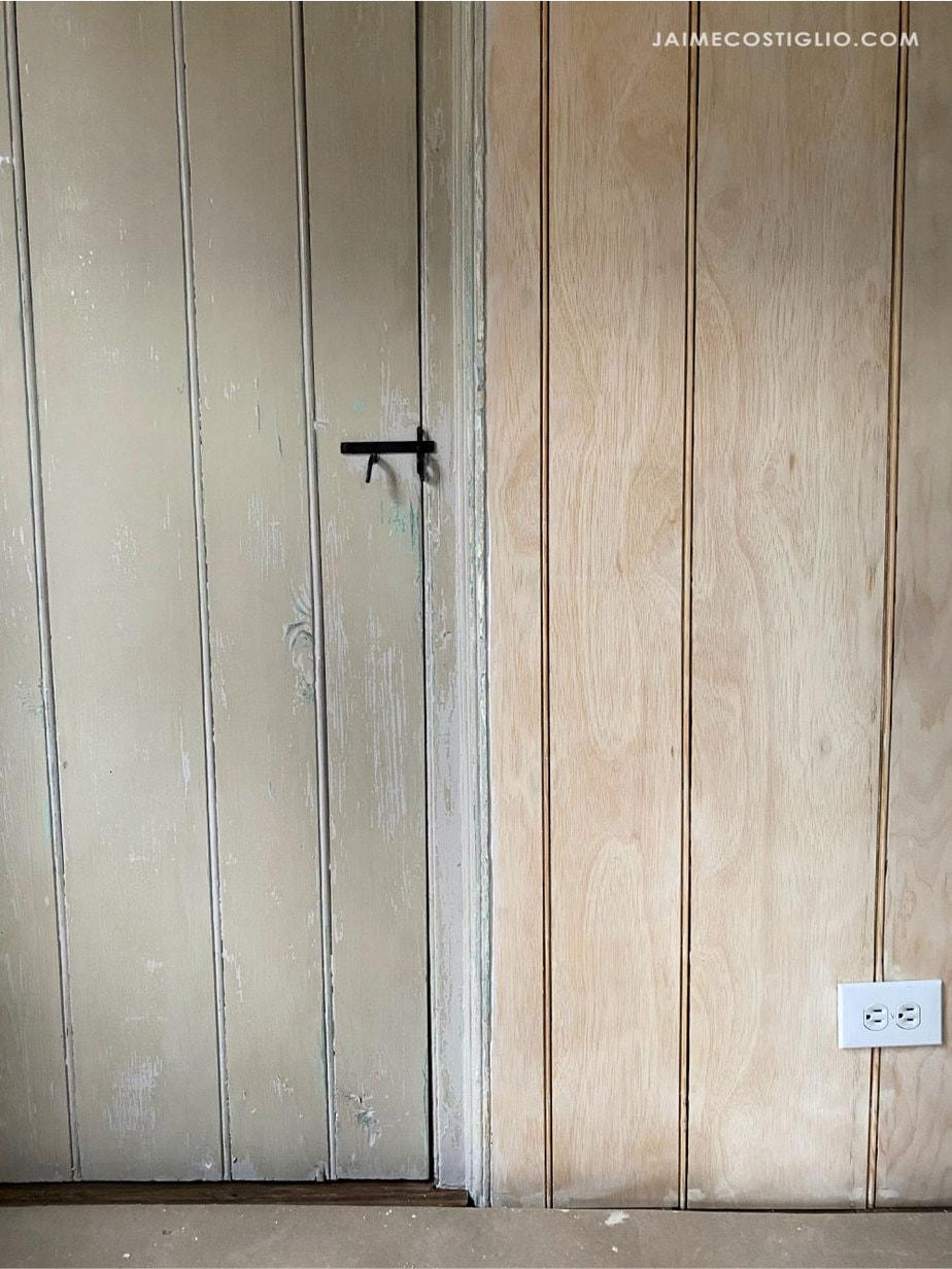 beadboard wall around door moulding