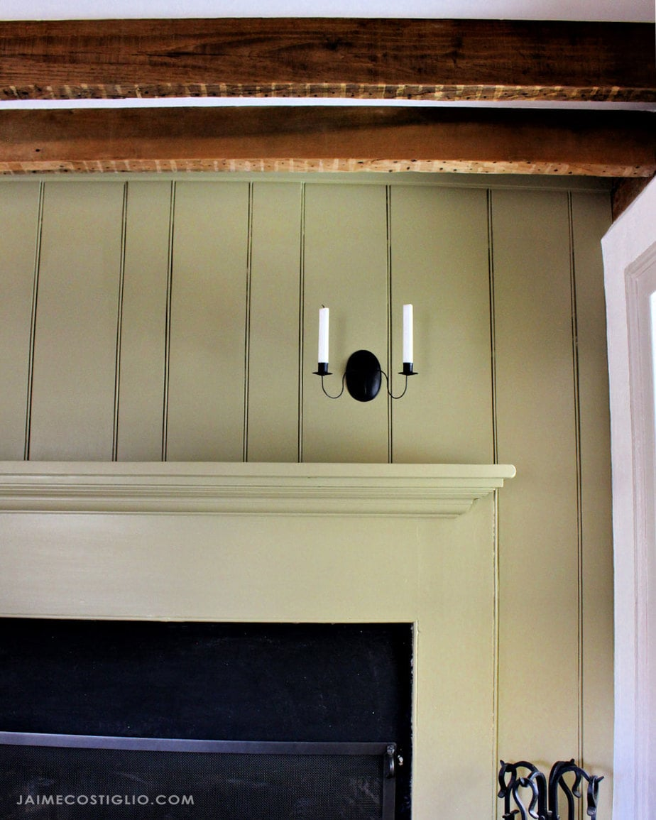 mantel with beadboard surround