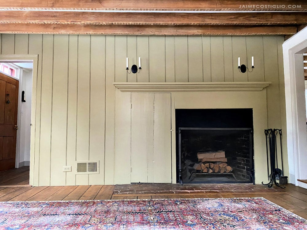 beadboard around fireplace