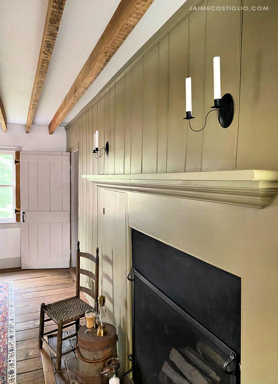 fireplace mantel with beadboard