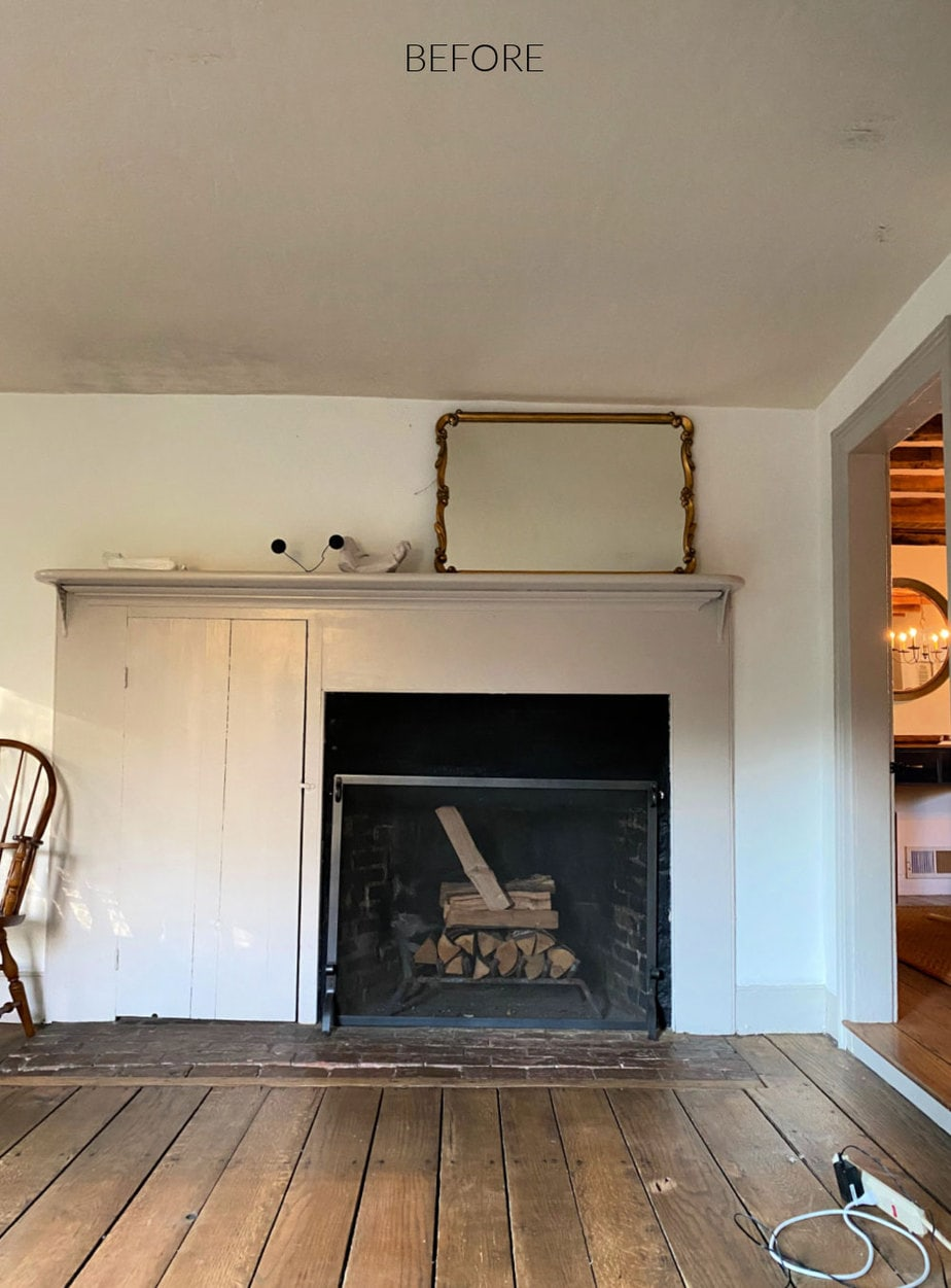 primitive farmhouse fireplace before