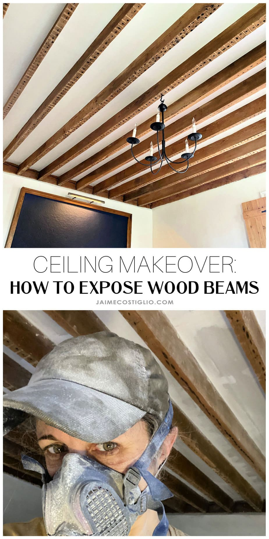 ceiling makeover exposed wood beams