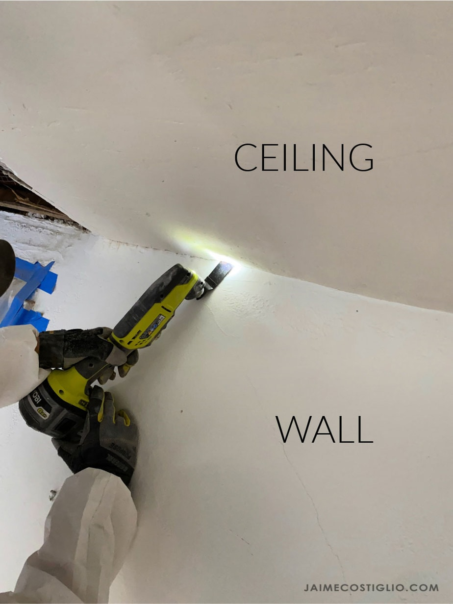 cut at seam between ceiling and wall