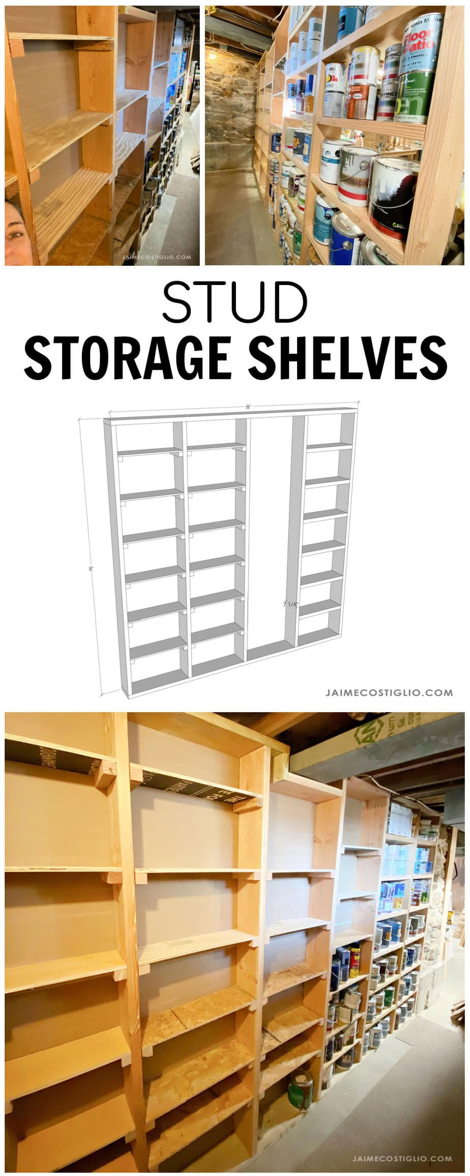 diy storage shelves in between studs