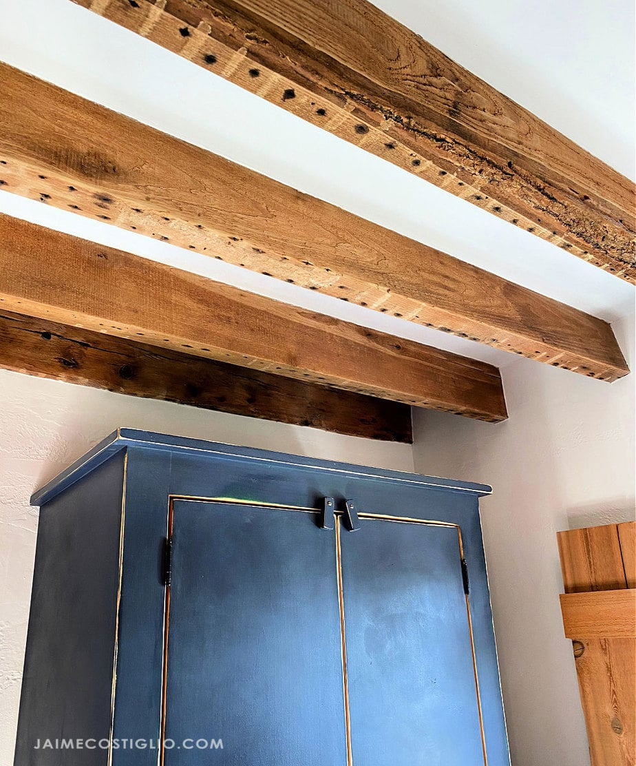 exposed wood beam with bark