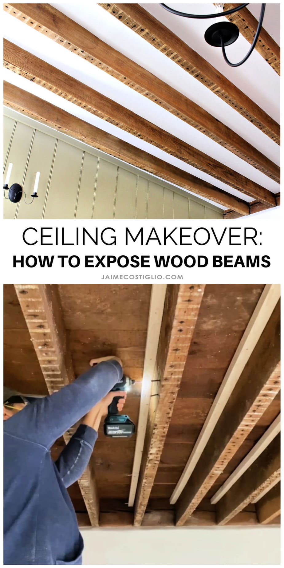 how to exposed wood beams