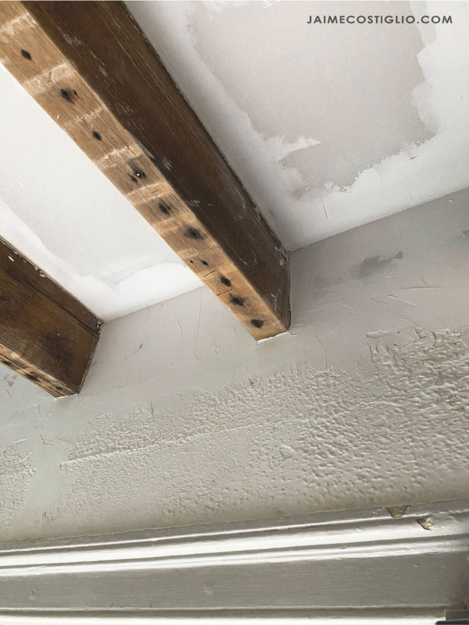 joint compound on ceiling at seams