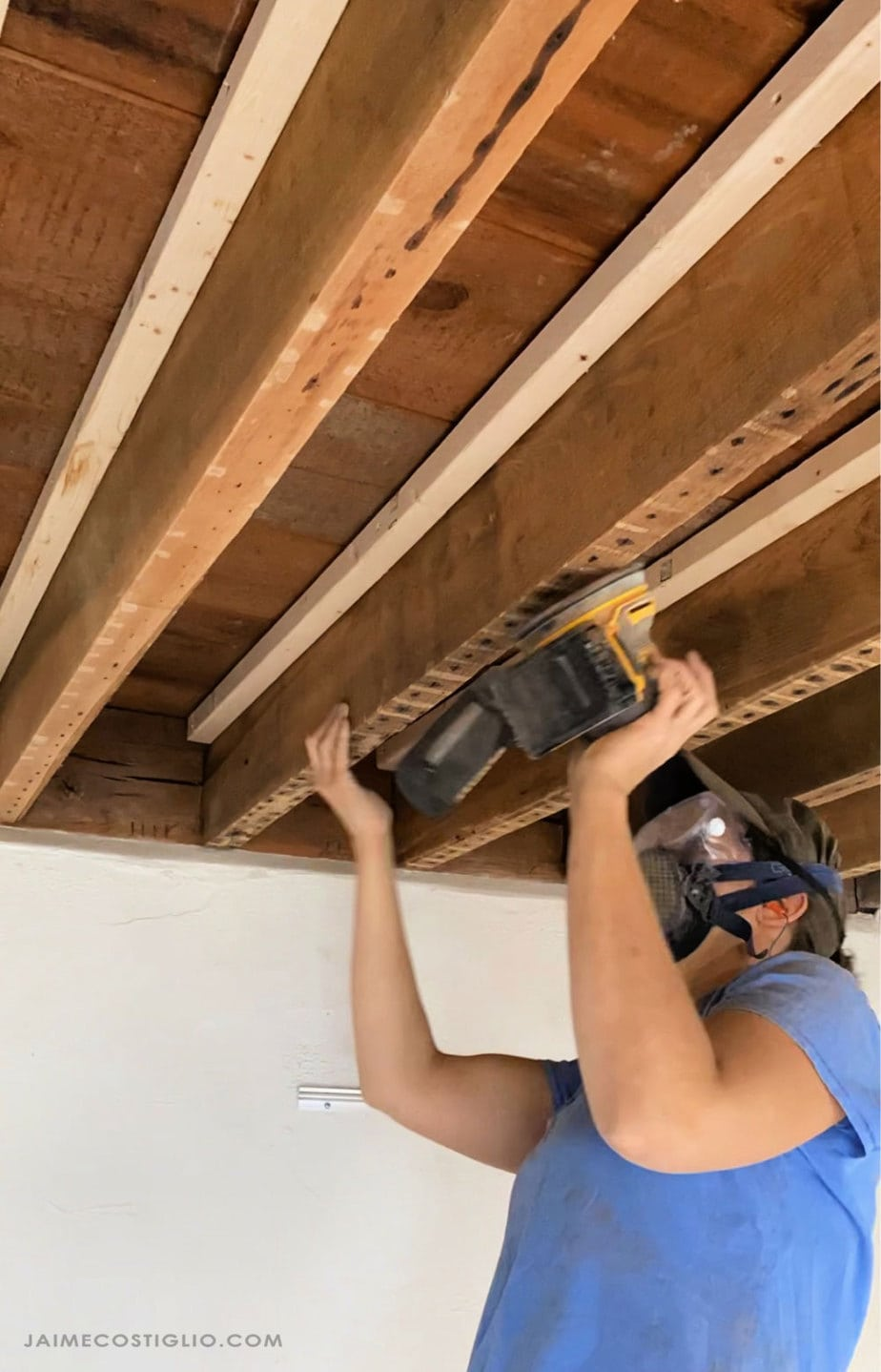 sanding exposed beams