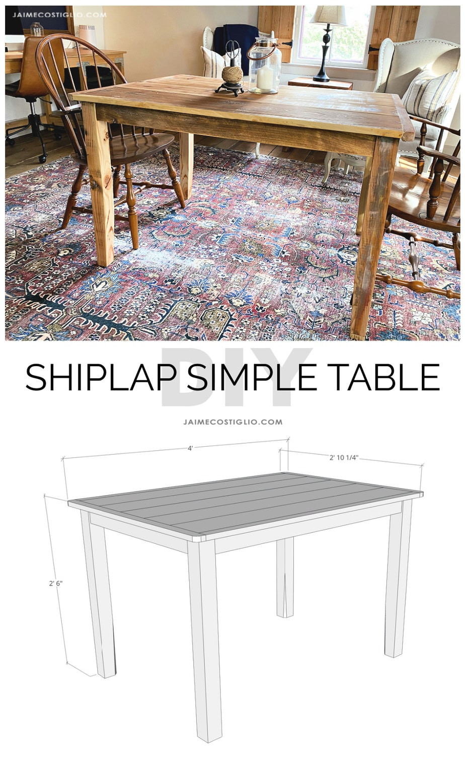 Diy shiplap simple table free plans