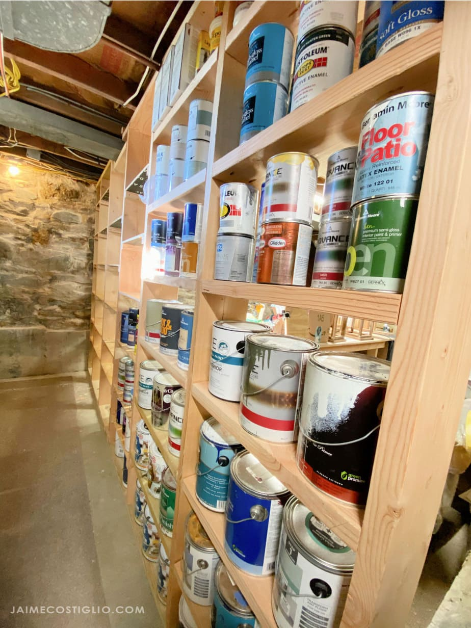 paint storage shelves