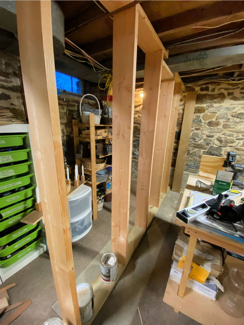 2x8 studs basement wall