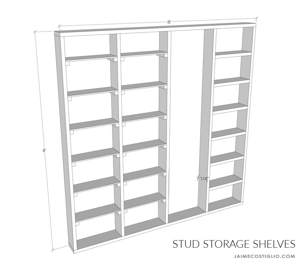 stud storage shelves plans