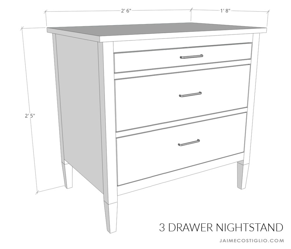 nightstand plan dimensions
