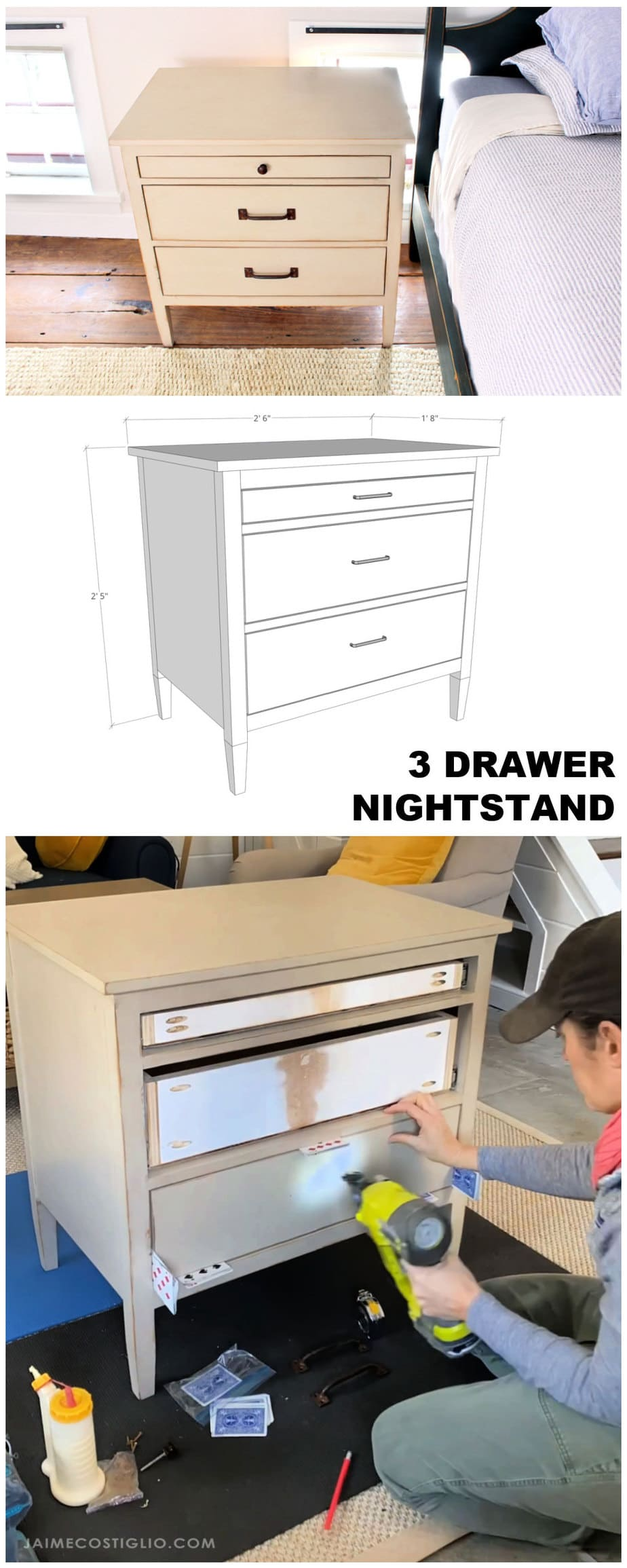 3 drawer nightstand plans