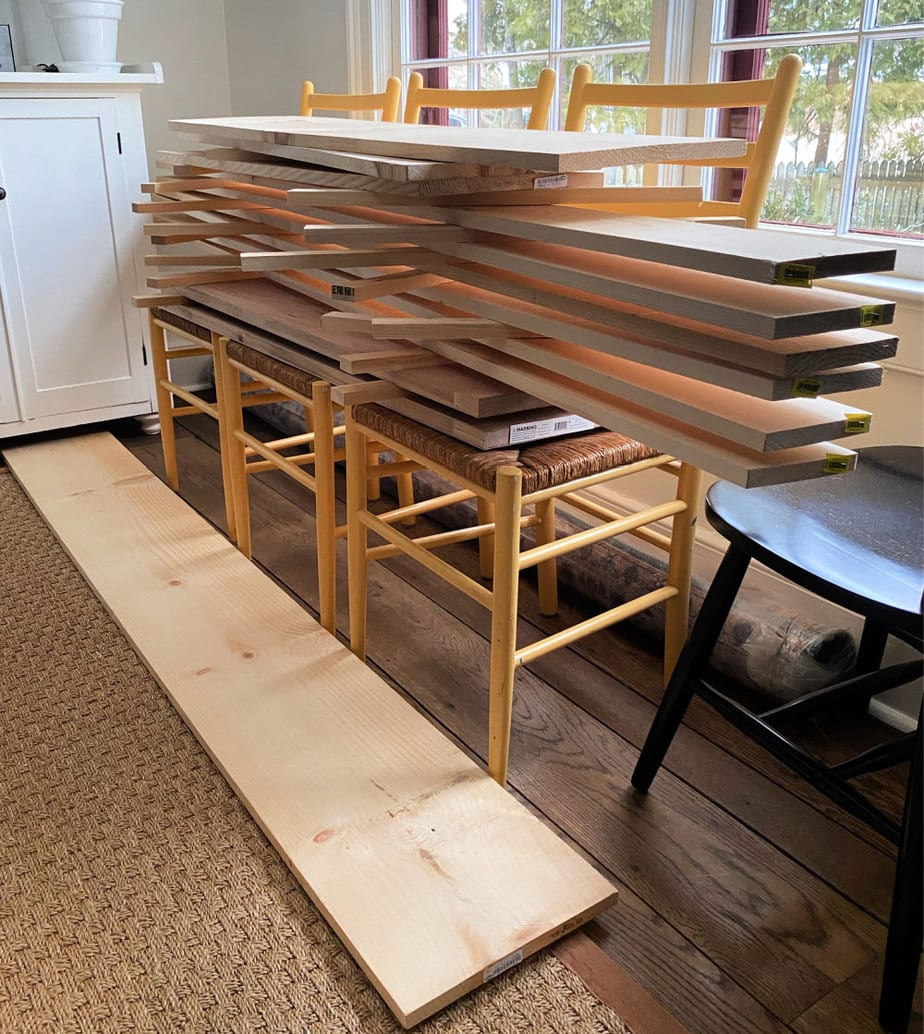 wood boards acclimating inside