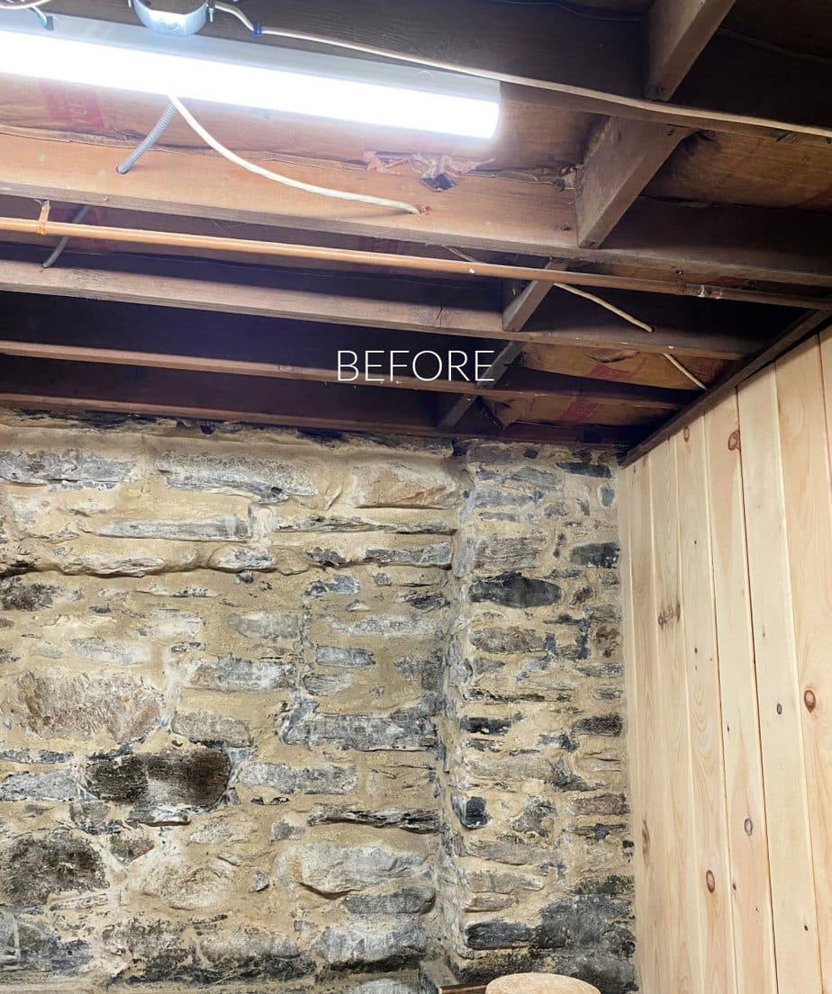 basement ceiling before