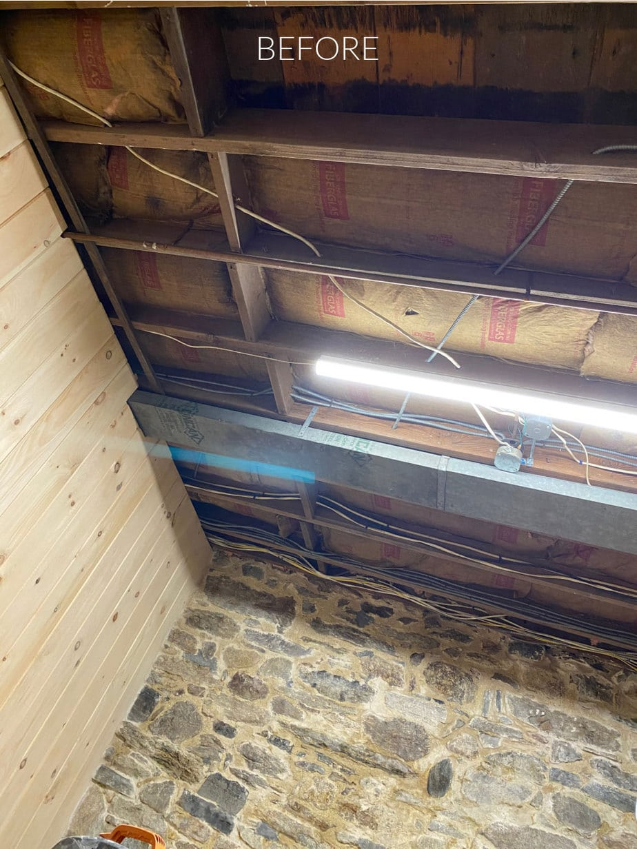 basement ceiling exposed joists