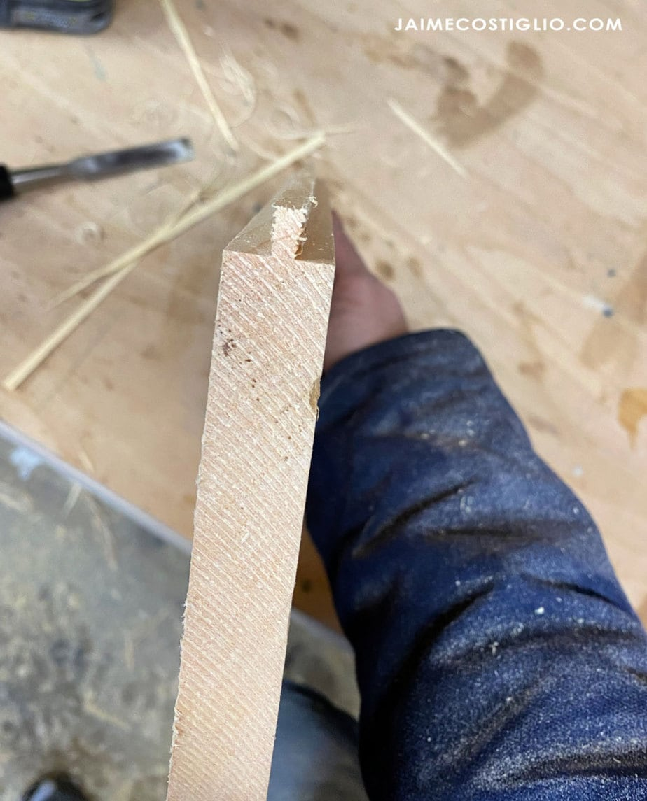 cutting tongues into pine boards