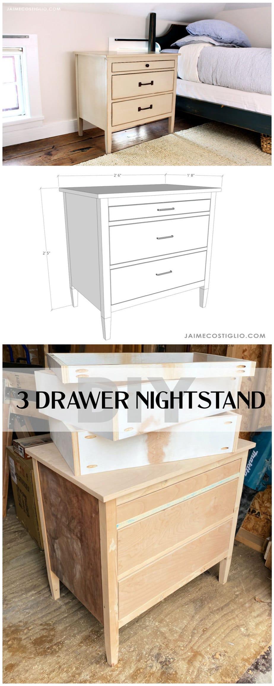 diy 3 drawer nightstand