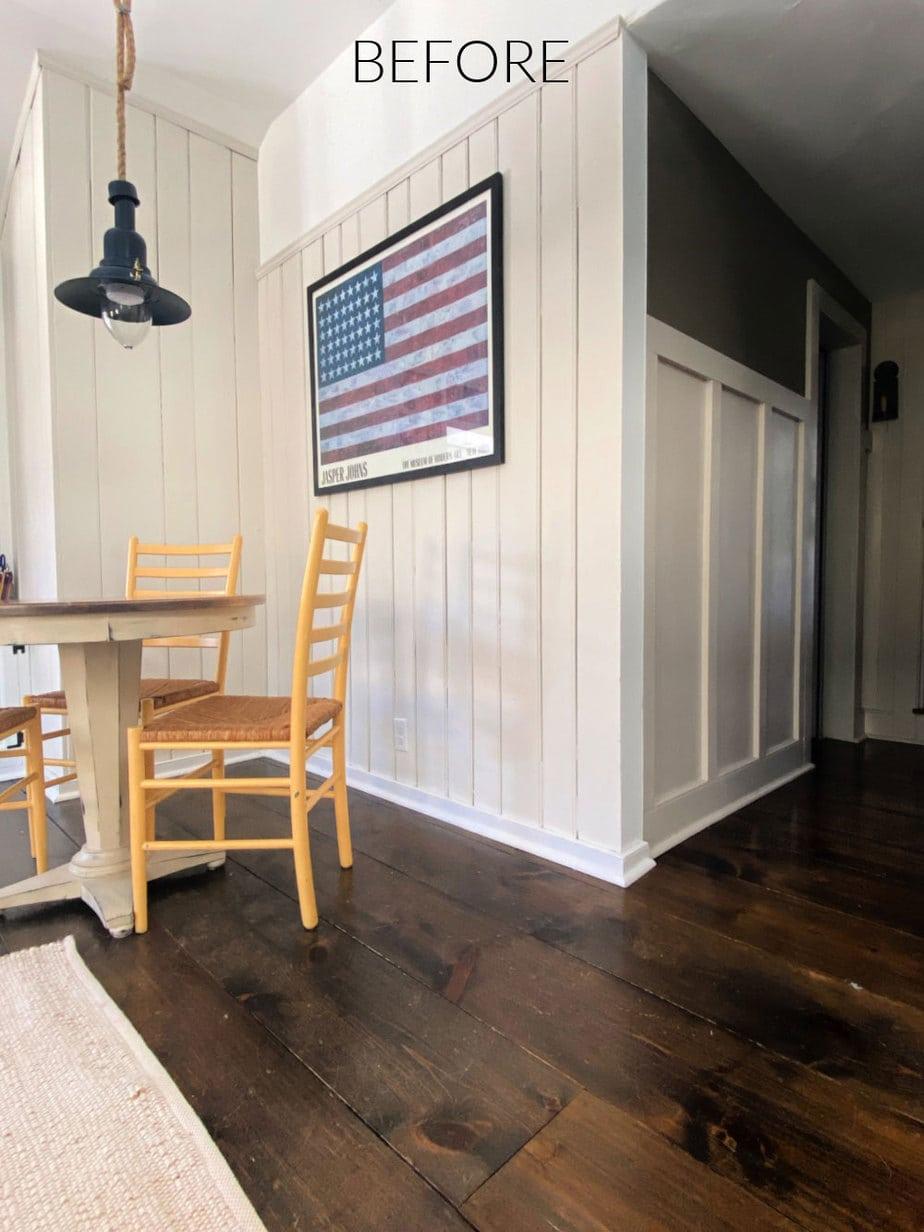 family room corner before