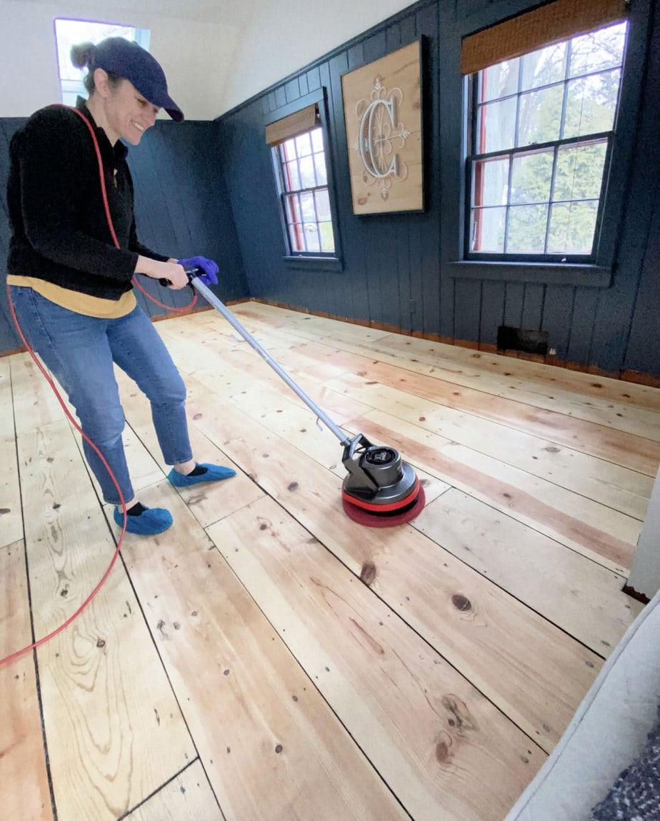 floor buffer on wood