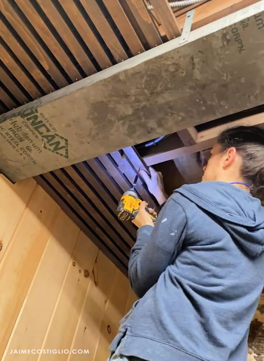 installing slats onto joists
