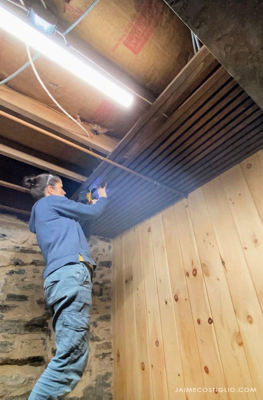 installing slats on ceiling