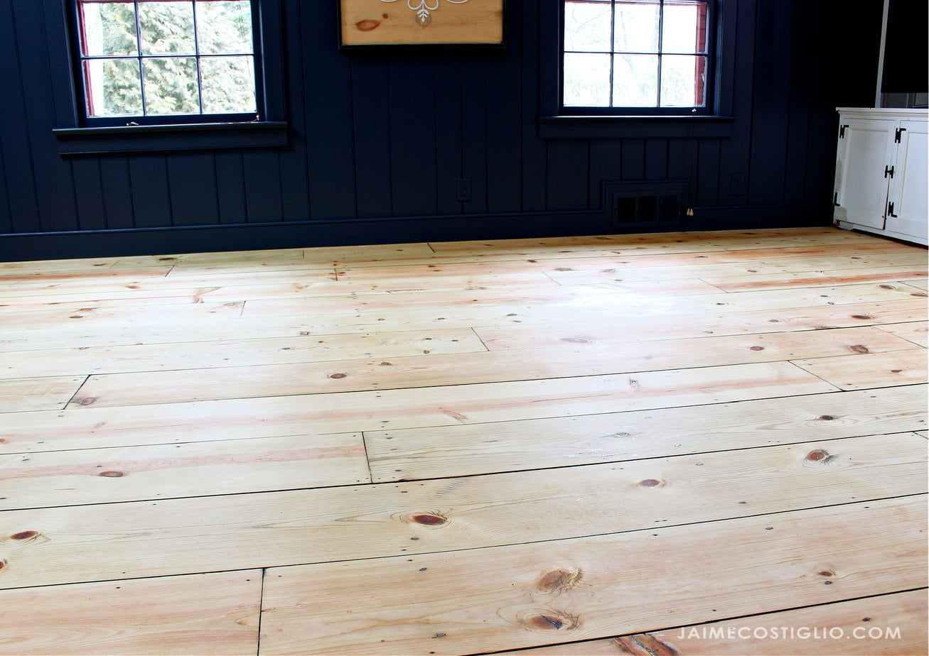 refinished pine floors family room