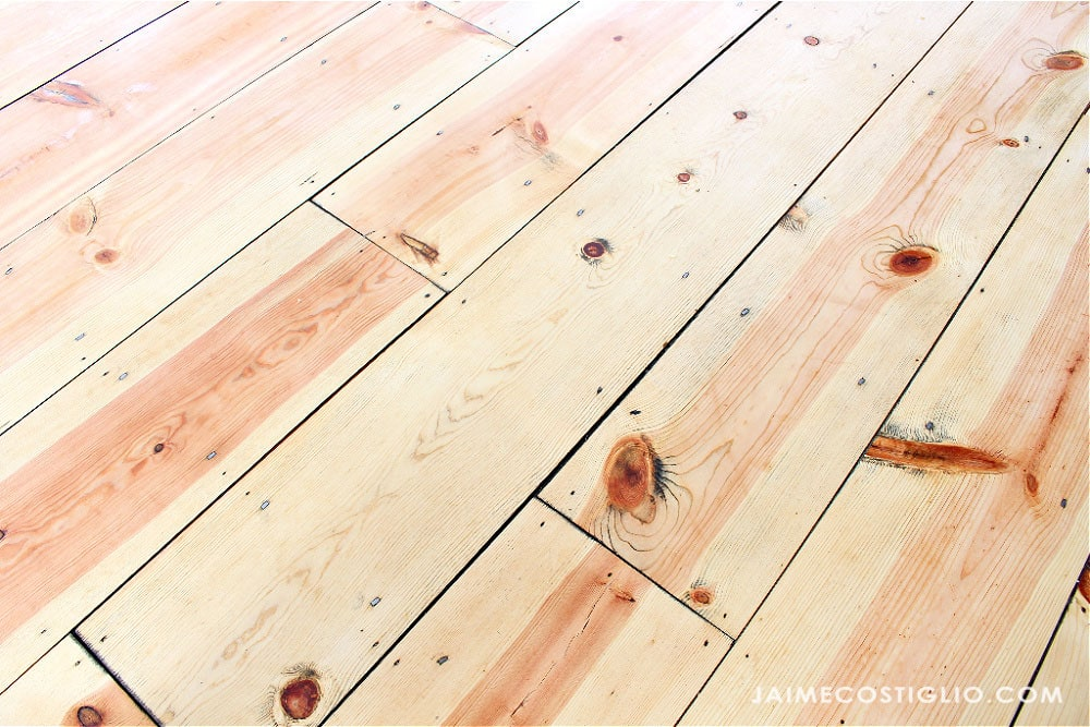 tongue and groove pine floors detail
