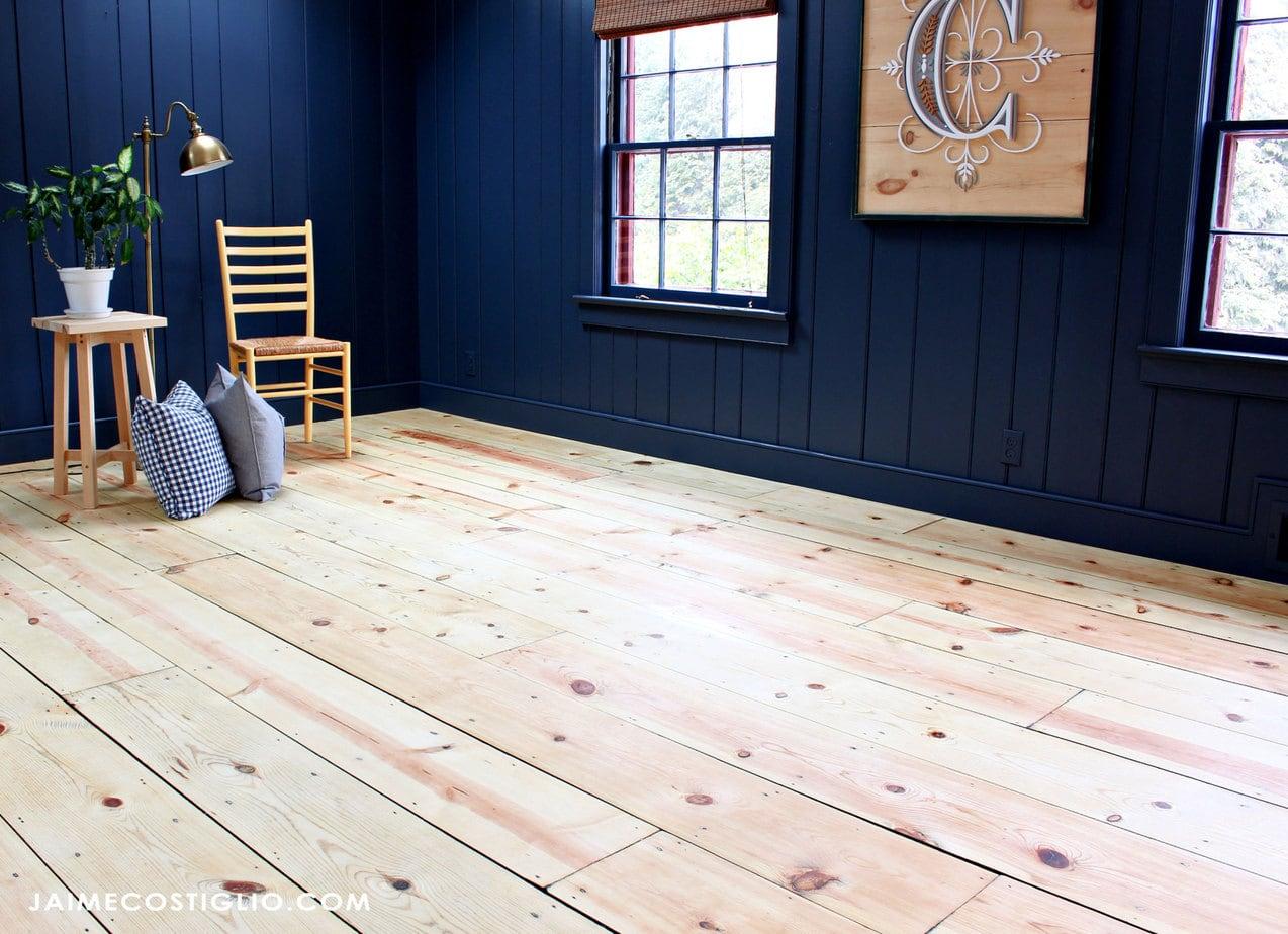 family room pine floors