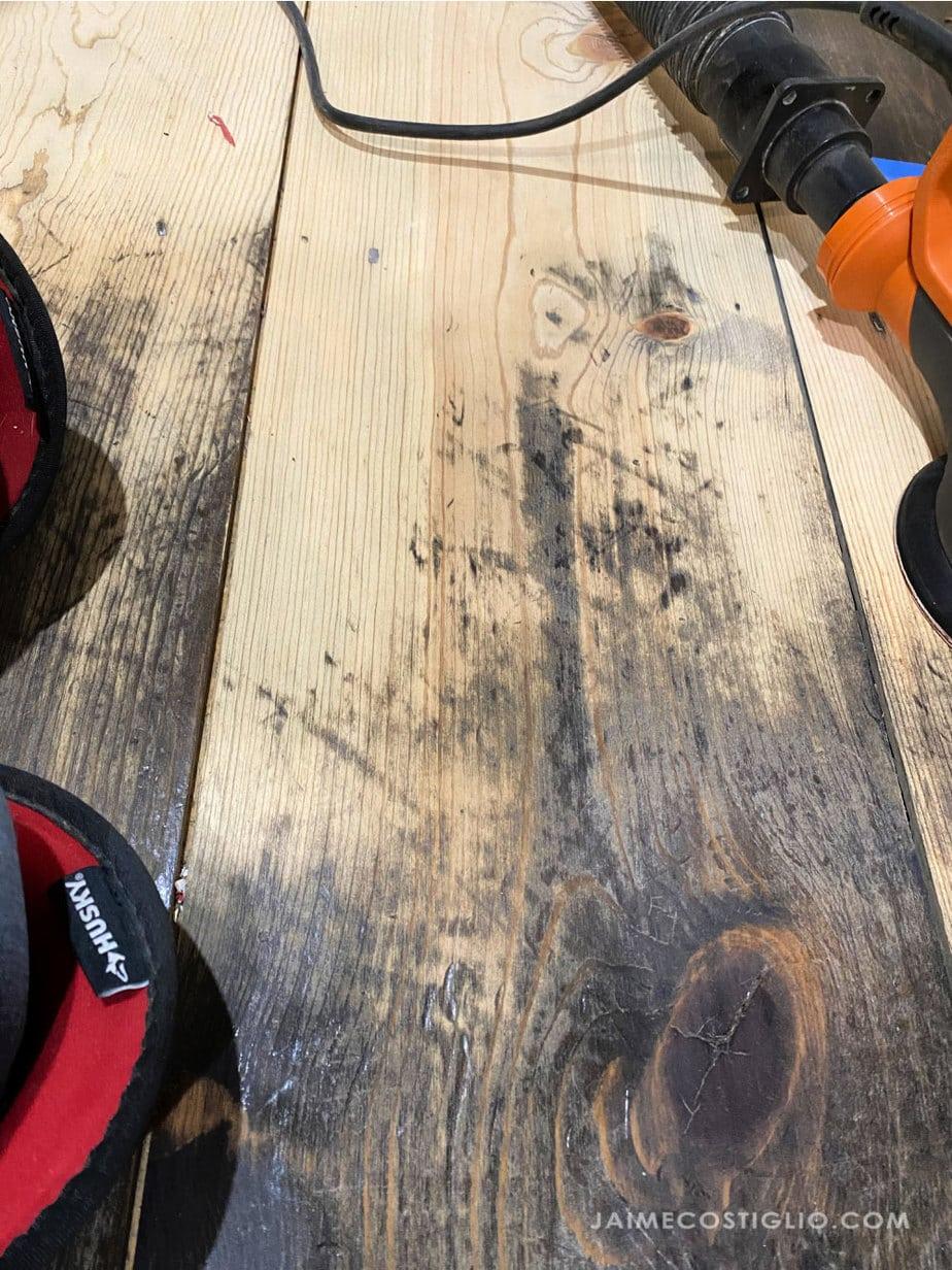 sanding stained pine floors
