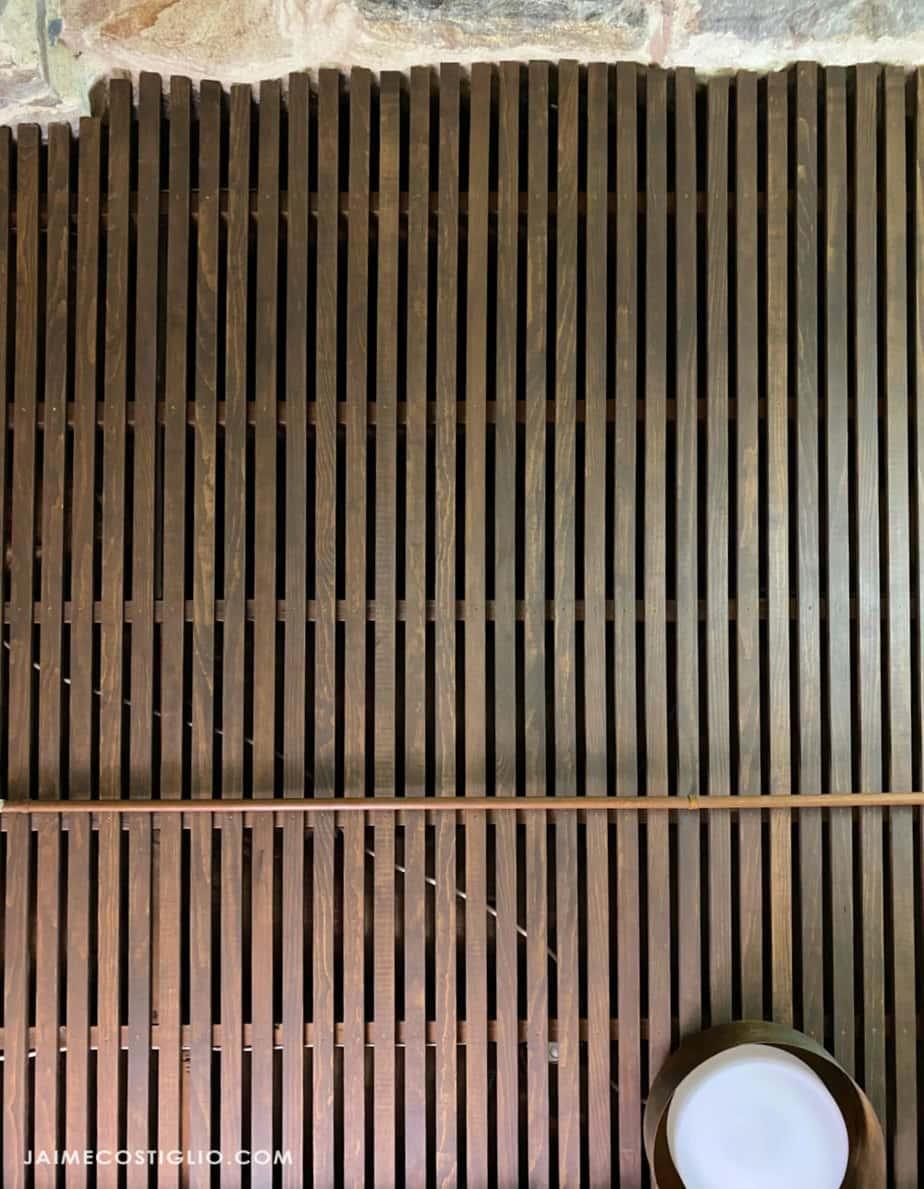 wood slat ceiling from below
