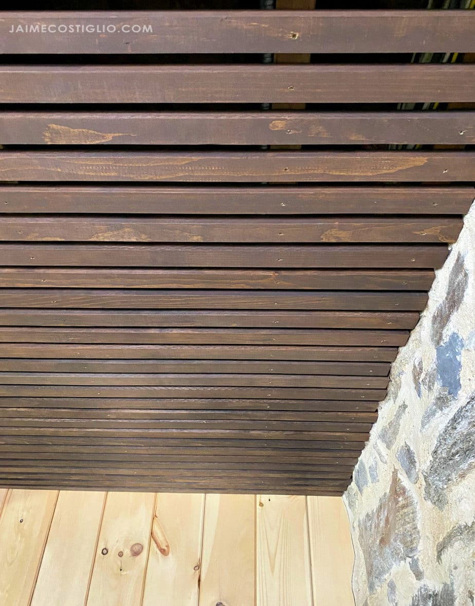 ceiling from wood slats