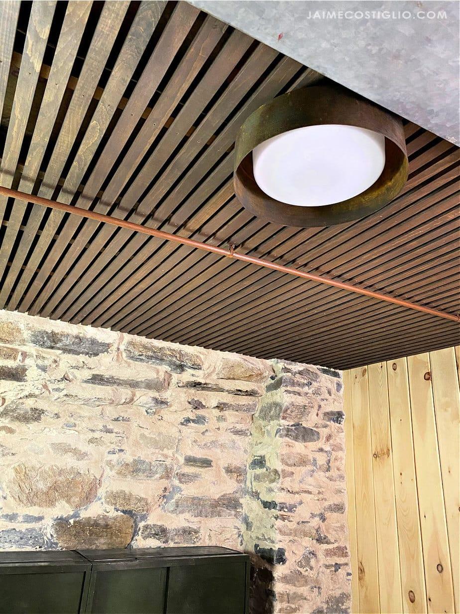 wood slat basement ceiling