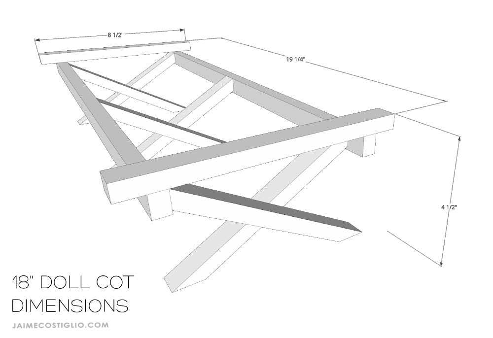 doll cot dimensions