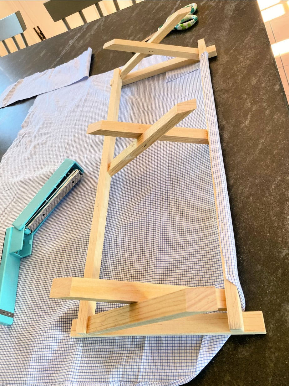 attaching fabric to doll cot wood frame