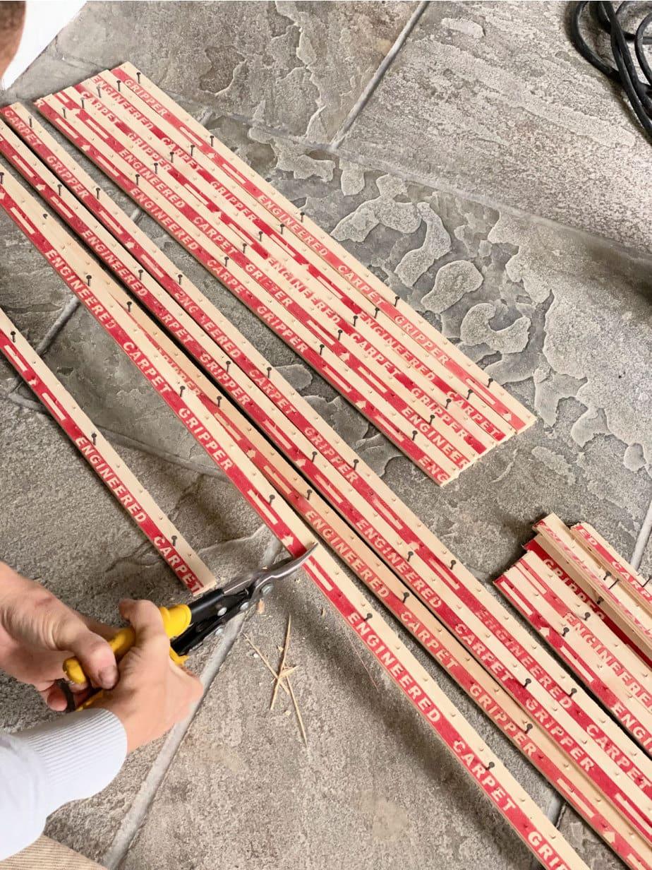 cutting carpet tack strips to size