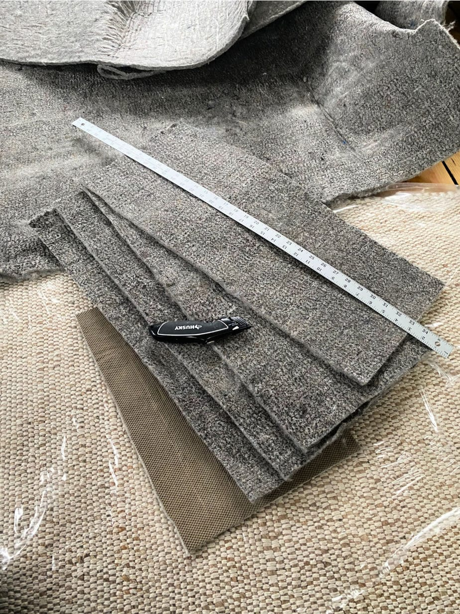 cutting rug pads to size